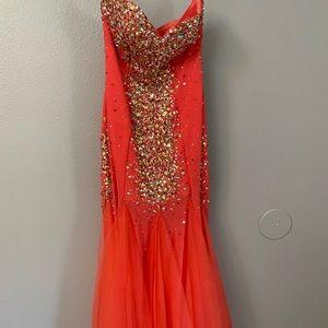 Salmon/pink mermaid floor length dress.